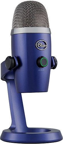 Micrófono marca Blue, modelo Yeti, color lila, con control de volumen y logo en el frontal