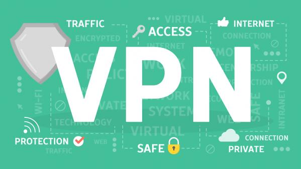 Las VPN dan seguridad y protección, letras blancas y fondo verde