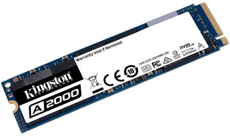 Kingston A2000, 500GB, NVMe PCIe 3.0, lectura 2200MB/s y escritura 2000 MB/s