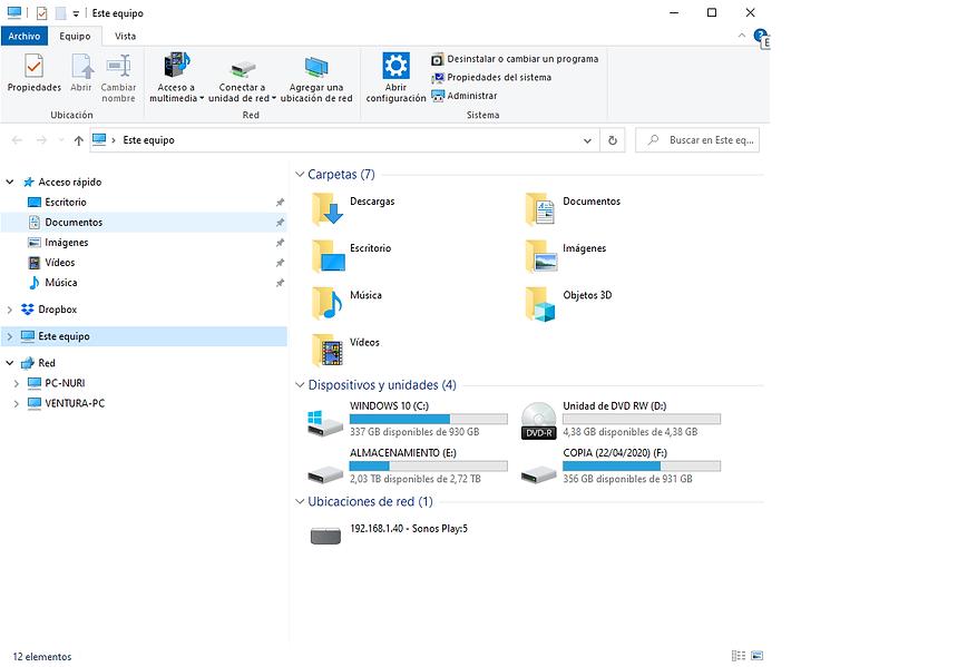 Explorador de Windows 10 con los dos PC conectados en red