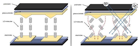 Partes de un panel LCD de tipo VA (Vertical Alignment). Giro de los cristales.