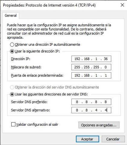 Usar las siguientes direcciones de servidor DNS