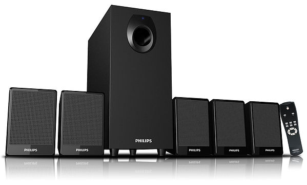 Altavoces marca Philips para Home Cinema, en color negro y cuadrados