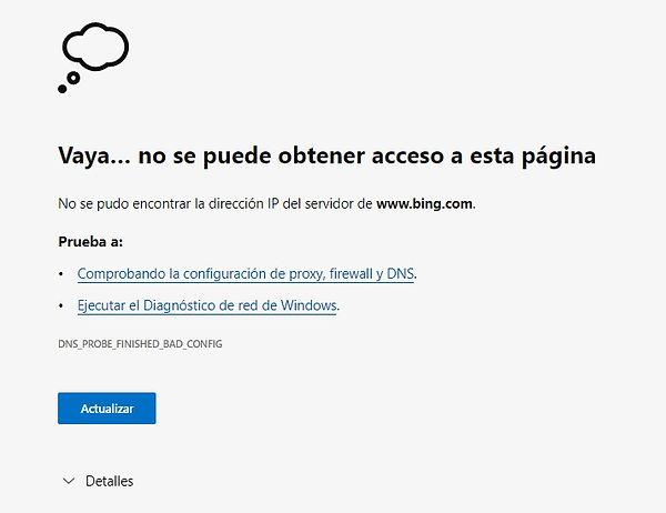 Error de DNS, no se puede obtener acceso a esta página