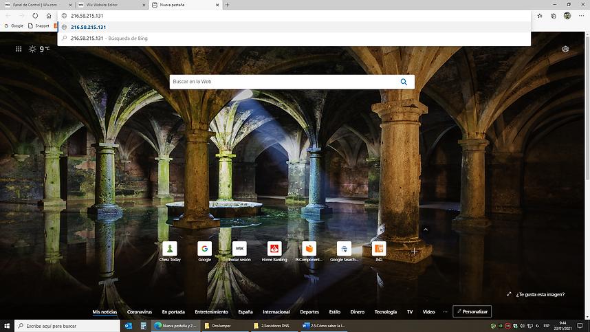Acceso a página web introduciendo su IP directamente en la barra de búsqueda