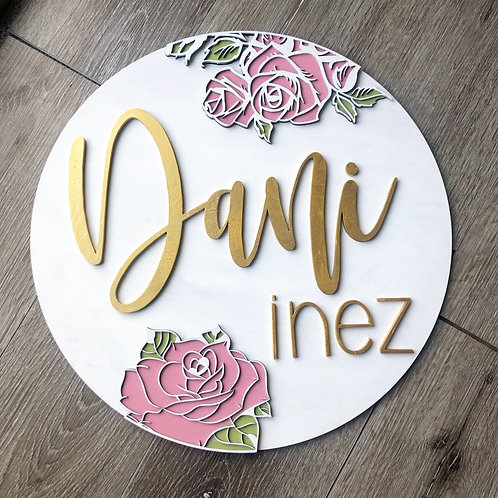 Custom name sign with wood cut roses