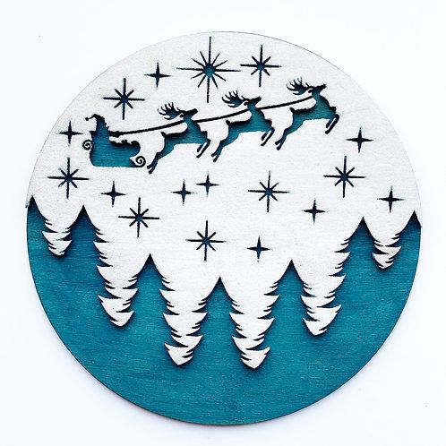 Moonlight Flight Santa Sign