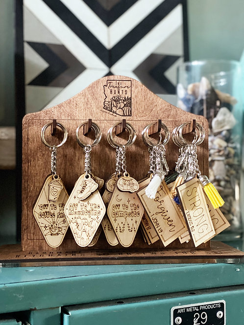 """Keychains: """"off to"""" & """"Bible word"""""""