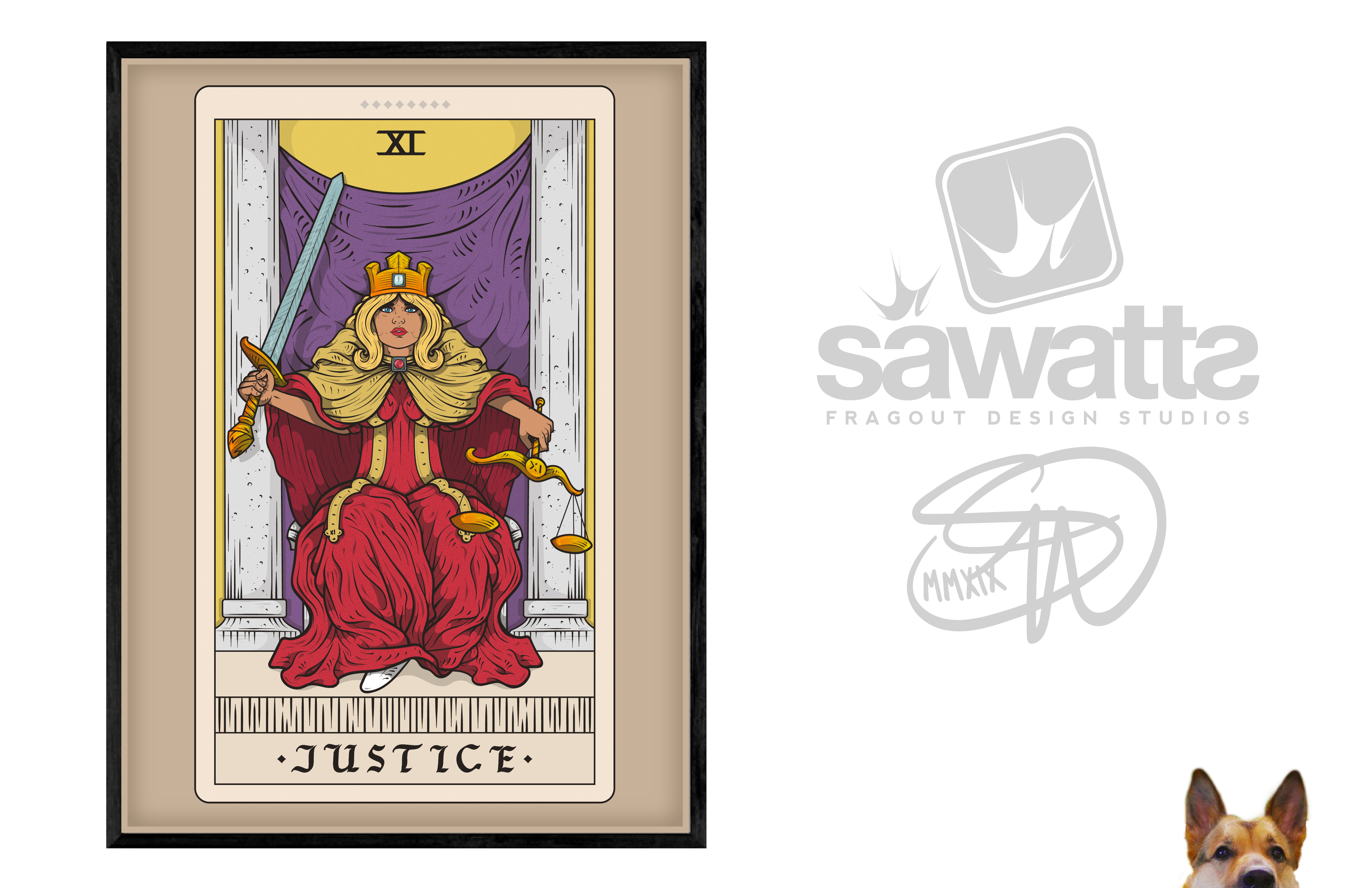 Justice Tarot Card Poster Design