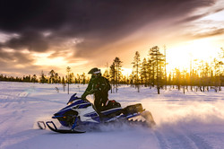 Winter snowmobiling in Maine