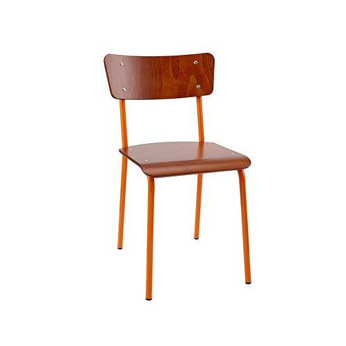 Archive Mahogany Contemporary School Chair - Orange