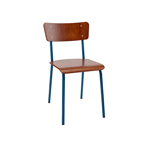 Archive Mahogany Contemporary School Chair - Blue
