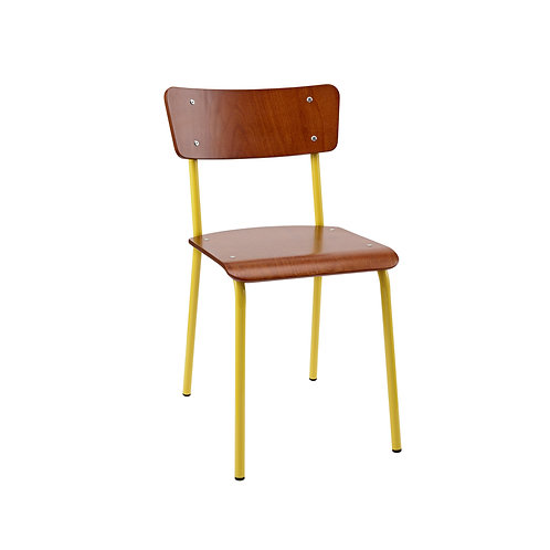 Archive Mahogany Contemporary School Chair - Yellow