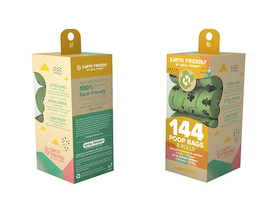 Earth Friendly Poop Bags 144 Unscented Bags