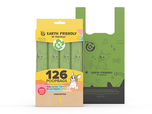 Earth Friendly 126 Uscented Poop Bags W/Handle