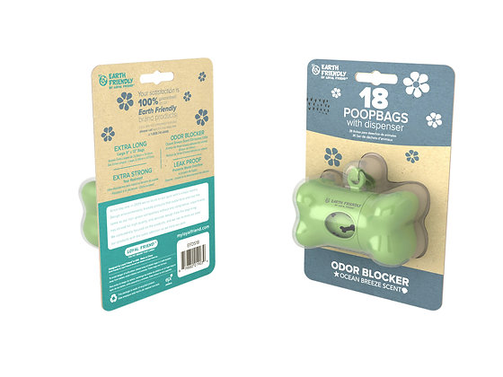 Earth Friendly Bone Shaped Dispenser With 18 Scented Poop Bags