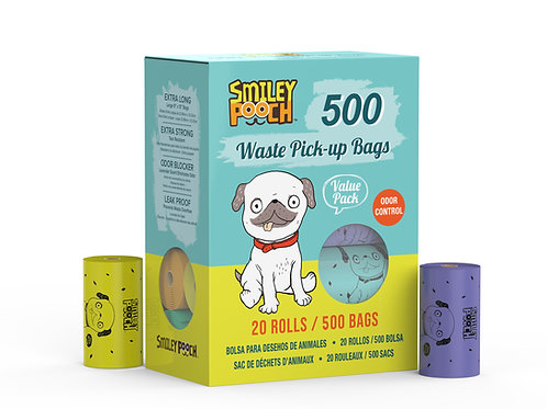 Smiley Pooch 500  Waste Pick-UP Bags