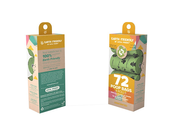 Earth Friendly Poop Bags 72 Unscented Bags