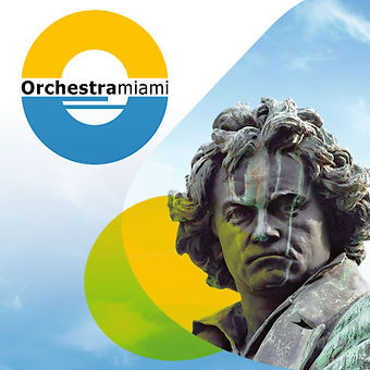 Beethoven for Miami Festival icon with Orchestra Miami Logo and Beethoven Statue