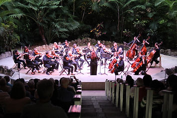 Orchestra Miami's full orchestra performing at the Banyan Bowl at Pinecrest Gardens