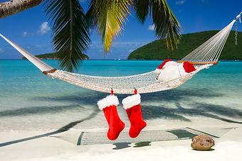stockings hanging on beach