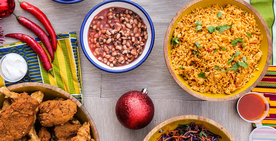 Fried Seitan and Oyster Mushroom Chick'un with Party Jollof Rice Meal kit for 3