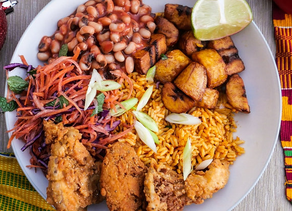 Oyster Mushroom Chick'un with Party Jollof Rice Meal kit for 3