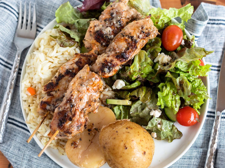 Chicken Thigh Kabob Dinner