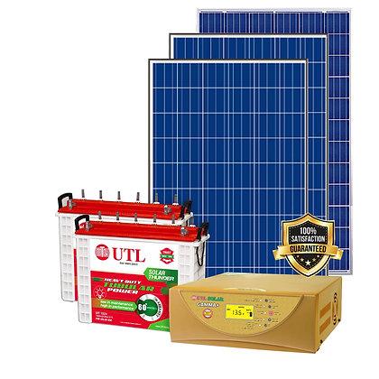 UTL 1kW Off Grid Solar System - 1kVAGamma+-1N, 335W Poly- 3N, UST156 BATTERY-2N