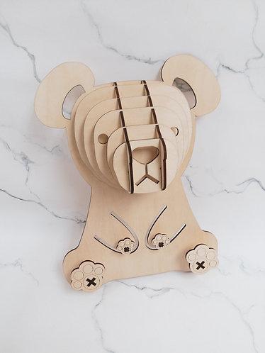 3D Wood Puzzle  動物頭掛鉤材料 (現貨)