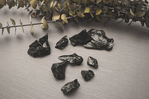 Black Obsidian Stones (shapes and sizes vary)- 1 pc