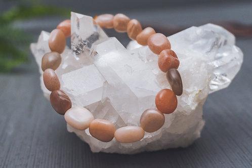 Peach Moonstone Stretch Bracelet