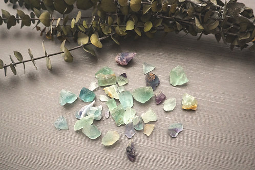 Fluorite Stones- 3 pc- Small (shapes, sizes & colours vary)
