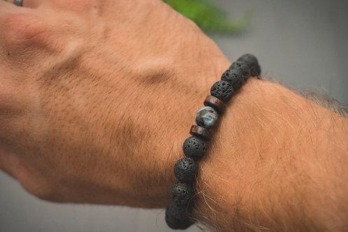 Men's Moonstone Lava Aromatherapy Bracelet