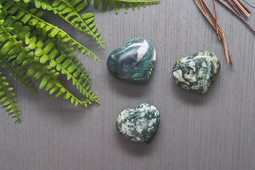 Moss Agate Heart- Large