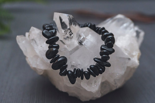 Black Tourmaline Chip Stretch Bracelet