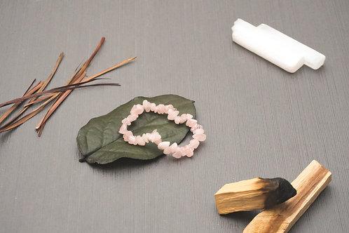 Rose Quartz Chip Stretch Bracelet