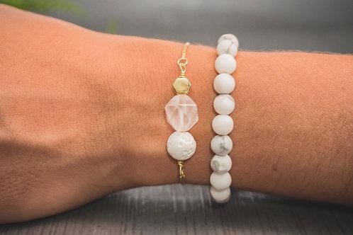 Rose Quartz Crystal Aromatherapy Bracelet (GOLD FILLED)