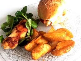 Buns burger au poulet pané