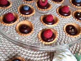 Tartelettes chocolat ganache chocolat framboises