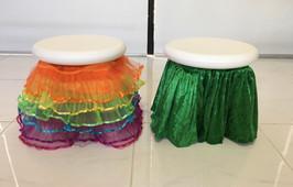 Rainbow and green stool skirts