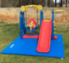 Little Monkeys Party Hire 3 in 1 swing, slide and playset