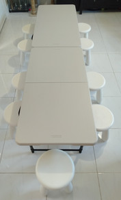 Table and 10 stools set