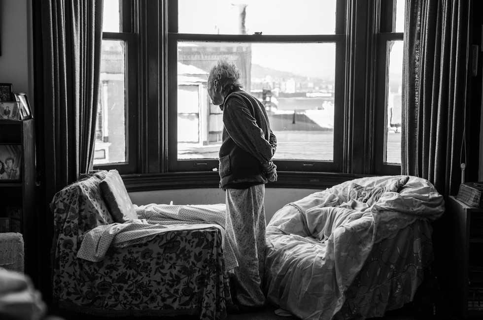"""My grandmother after being diagnosed with late-stage Alzheimer's. Here, she looks out her favorite window from her home of 50 years. She inspired my interest in neuroscience.  Awards: Best in Show, Asian Art Museum, San Francisco CA 1st Place, Art in the Park, Los Altos CA  Exhibitions: """"Social Matters,"""" New Museum of Los Gatos, CA"""