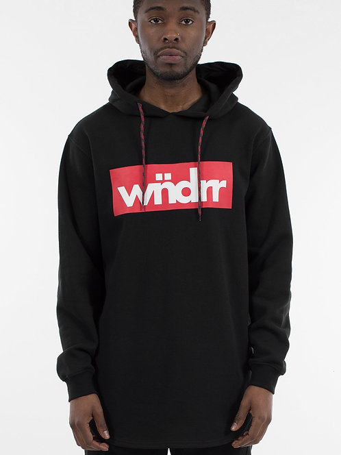 Wndrr Accent Curved Hem Hood Sweat - Black