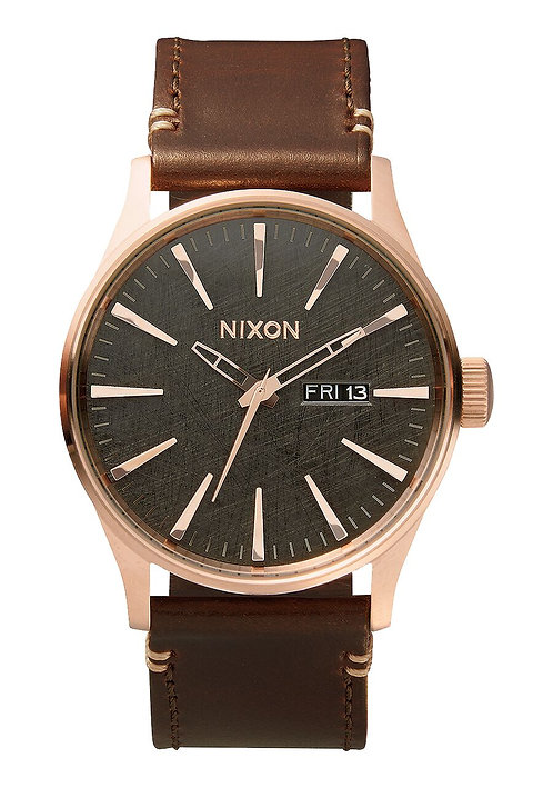 Nixon 42 mm Sentry Leather Watch Rose Gold / Gunmetal / Brown