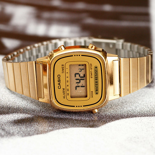Casio Women's LA670WGA-9 Gold Stainless-Steel Quartz Watch
