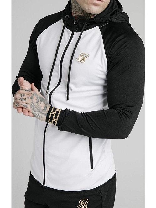 SikSilk Contrast Scope Zip Through Hoodie - Black & White