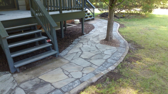 Grey Patio Stone with Blue Border and Grey Edging Stone