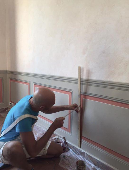 Esecuzione di paesaggio ottocentesco interno al cartiglio - volta dipinta in trompe l'oeil Rita Pontarollo